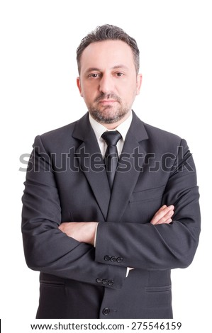 Confident business man standing or salesman isolated on white background - stock photo