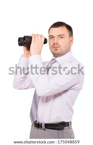 Confident business man with binoculars. Serious man, a sales agent and insurance agent in finding customers. Man of business isolated on white background. Drawn to the goal. See the target. - stock photo