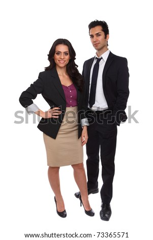 Confident Business People isolated on white background - stock photo
