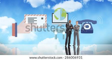 Confident business team against bright blue sky - stock photo