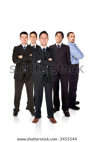 confident business team formed by males only - stock photo