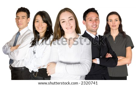 confident business team over a white background being led by a beautiful business woman