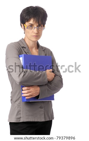 confident business woman, arms crossed. Isolated on white background - stock photo