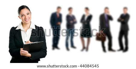 Confident business woman doing a questionnaire for a job interview recruitment isolated on white background - stock photo