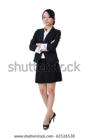 Confident business woman, full length portrait isolated on white background. - stock photo