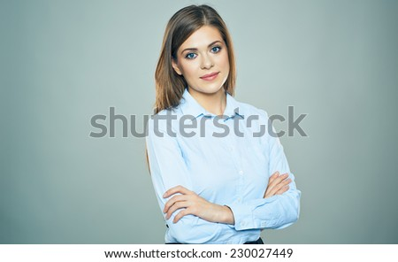 Confident Business woman isolated portrait. Crossed arms. Studio isolated - stock photo