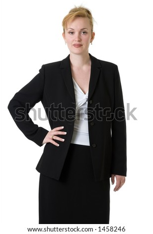Confident business woman on white wearing business suit with hand on hip