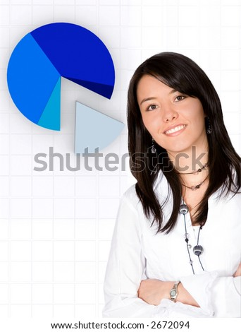 confident business woman - pie chart in the background - stock photo
