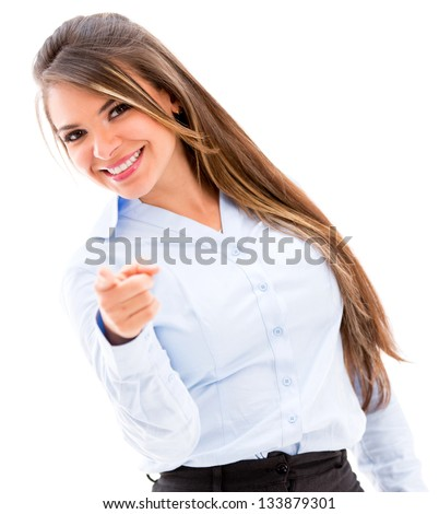 Confident business woman pointing to the camera - isolated over white - stock photo