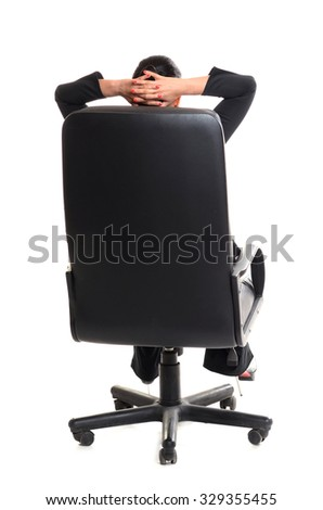 confident business woman sitting in chair on white - stock photo