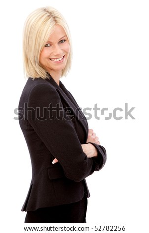 confident business woman smiling isolated over a white background - stock photo