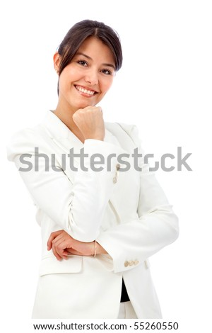 Confident business woman smiling - isolated over a white background