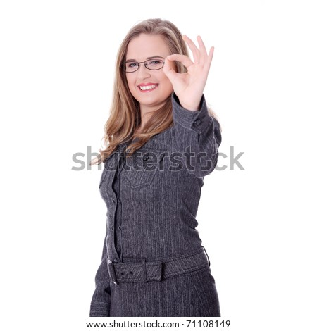 Confident business woman standing wearing elegant clothes gesturing perfect- isolated over a white background - stock photo