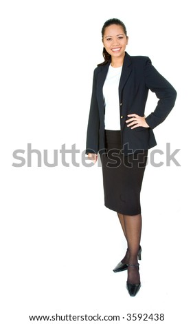 confident business woman standing wearing elegant clothes including a black skirt and top - isolated over a white background