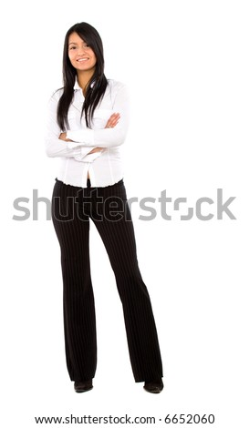 confident business woman standing wearing elegant clothes - isolated over a white background - stock photo