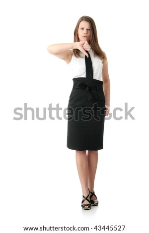 Confident business woman standing wearing elegant clothes  with thumb down- isolated over a white background