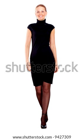 confident business woman walking - isolated over a white background - stock photo