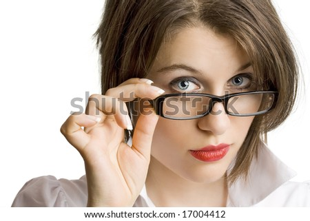 confident business woman wearing glasses - stock photo