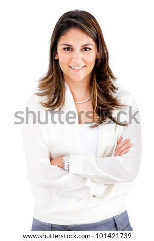 Confident business woman with arms crossed - isolated over a white background - stock photo