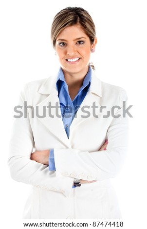 Confident business woman with arms crossed - isolated over white