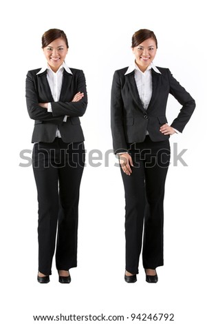 Confident business woman with arms crossed over white background. Isolated on white. - stock photo