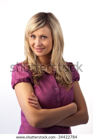 Confident Business woman with arms folded looking at camera