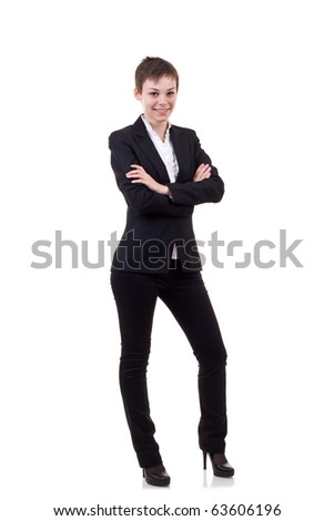 Confident business woman with look of success over white - stock photo