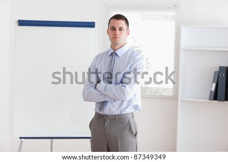 Confident businessman about to start his presentation - stock photo