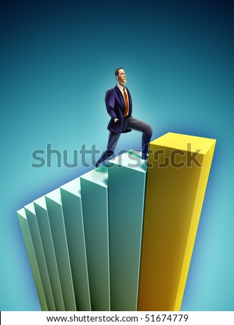 Confident businessman climbing a bar chart. Digital illustration