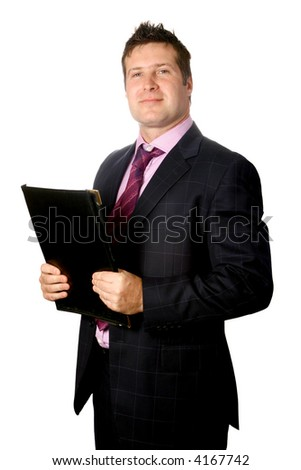 Confident businessman holding a folder of important document, isolated on white. - stock photo