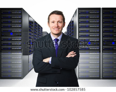 confident businessman in datacenter 3d - stock photo
