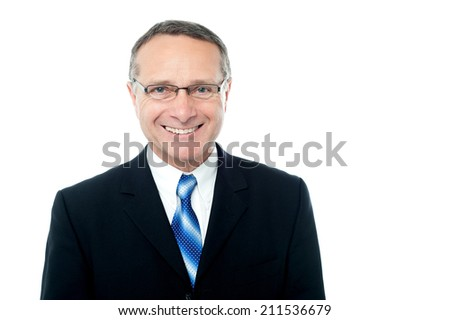 Confident businessman in eyeglasses, isolated on white