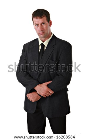 Confident Businessman in Suit Portrait on Isolated Background - stock photo