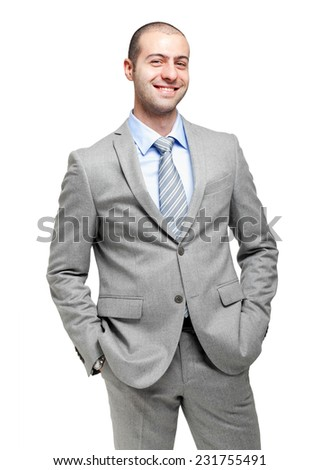 Confident businessman isolated on white - stock photo