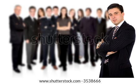 confident businessman leading a business team over a white background - stock photo