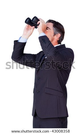 Confident businessman looking through binoculars isolated on a white background - stock photo