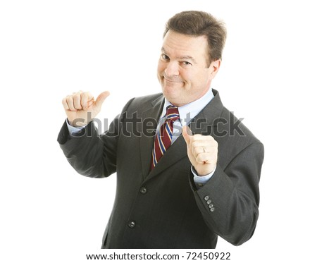 Confident businessman points to himself with both thumbs. Isolated on white. - stock photo
