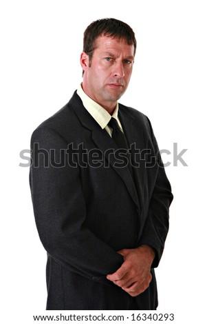 Confident Businessman Portrait on Isolated Background - stock photo