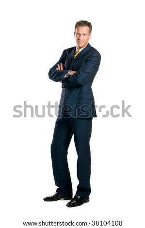 Confident businessman standing full length isolated on white background - stock photo