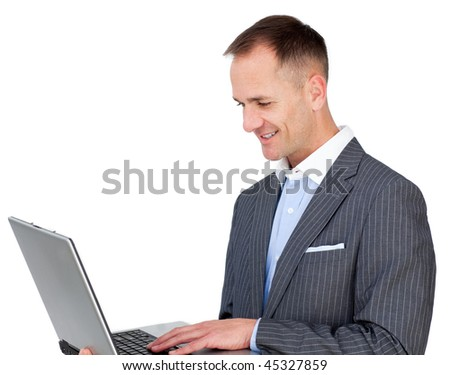 Confident businessman surfing the internet against a white background