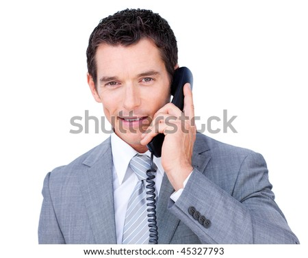 Confident businessman talking on phone against a white background