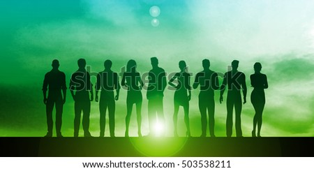 Confident Businessmen and Businesswomen Standing in Unity 3D Illustration Render