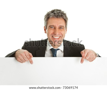 Confident businessmen presenting empty board - stock photo