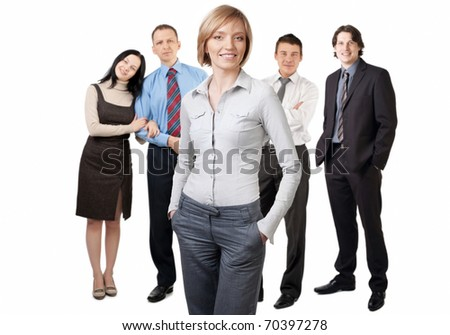 Confident businesswoman and four businesspeople posing over white background