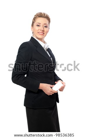 Confident businesswoman holding blank business card - stock photo