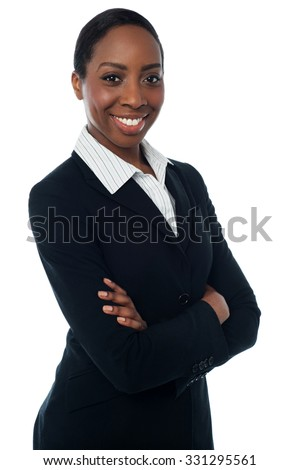 Confident businesswoman isolated on white background - stock photo