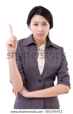 confident businesswoman pointing up 1 finger gesture - stock photo