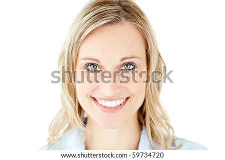 Confident businesswoman smiling at the camera against a white background - stock photo