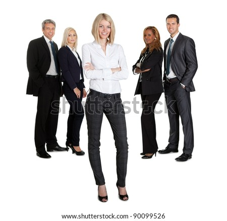 Confident businesswoman with successful group of business people on white background - stock photo