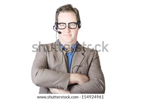Confident Call Center Male Operator With Arm Crossed On White Background - stock photo